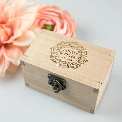 Personalised Favours Rustic Wooden Double Wedding Ring Box for Ceremony / Oak