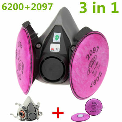 Set For 3M 6200 Dust Gas Mask Half face Respirator Spray Painting 2 2907 Filters