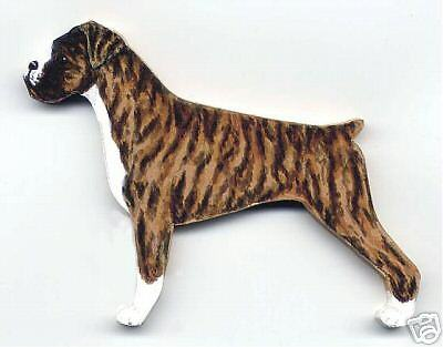 BOXER Wooden Dog MEMO MAGNET - Brindle - Drop-eared - Hand Crafted !