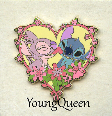 UK Disney Store Angel Gives Stitch a Kiss for Valentines Day Heart Le 350 Pin