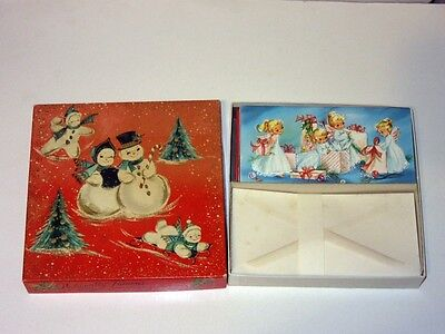 Vtg 50's Box Xmas Sunshine Card full 21 unused different FAB! Designs glitter