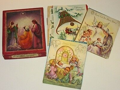 Vtg 50's Box Xmas Card 13 unused Cards w Bible Verses angels carolers sleigh