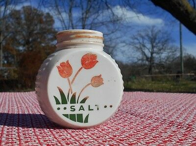 Vintage Milk Glass Salt shaker - Tulip design / round