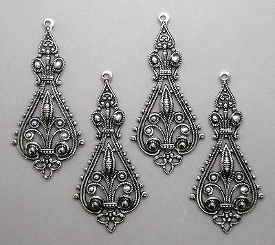 #0009 ANTIQUED SS/P OPEN FILIGREE TEARDROP W/TOP HANG RING - 4 Pc Lot