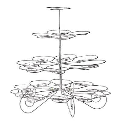 Stainless Steel 23 Cups Cupcake Stand Wedding Party Display Cake Tower 4 Tiers