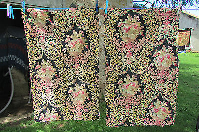 2x LARGE LENGTHS ANTIQUE FRENCH PRINTED URNS & BOWS TOILE FABRIC 19thc EXC COND