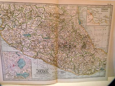 "Antique, 1897 Century Atlas Map - No.65, MEXICO ~ Central Portion, 16""X11"""