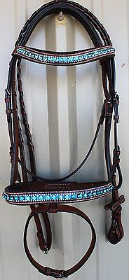 Horse English Padded Leather Show Bridle Crystal Bling  803MT02