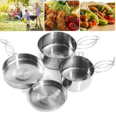 4pcs Stainless Steel Outdoor Camping Cooking Set Outdoor Cookware Picnic Pot Pan