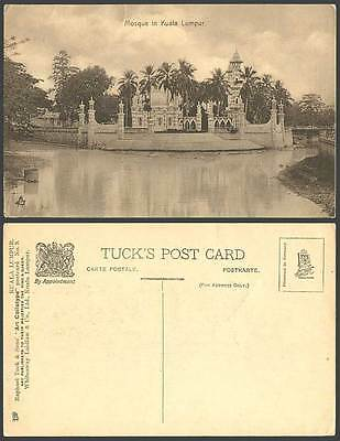 MALAY MOSQUE in Kuala Lumpur, Palm Trees Steps Lake Malaya Old Tuck's Postcard 9