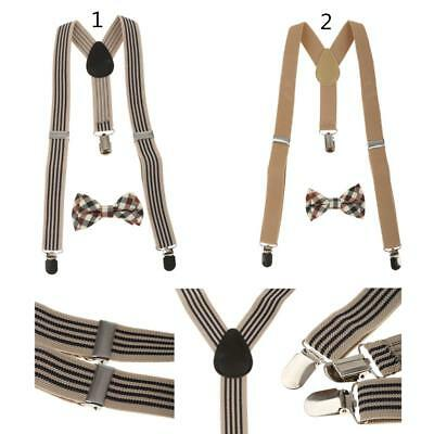 Handmade Children's Christmas Suspenders and bow Plaid Necktie Baby and Boy