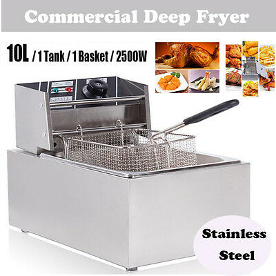 Commercial Stainless Steel 10L Electric Deep Fat Fish & Chip Fryer Tank Basket