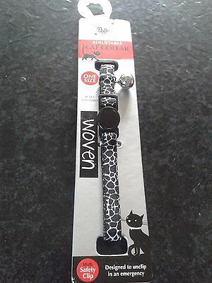 Billy&macy Black And White Woven Adjustable Cat Collar With Safety Clip. New