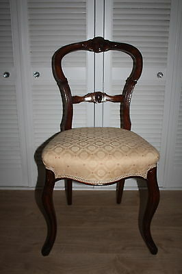 Elegant Victorian Balloon Back Dining Hall Bedroom Chair Champagne Upholstery