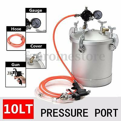 High Pressure Pot Air Paint Spray Gun 2.25 Gallon Industrial Painting + 6'' Hose