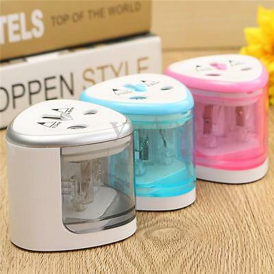 New Electric Automatic Pencil Sharpener Dual Holes Battery Operated For Student