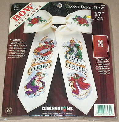"NEW Dimensions Cross Stitch Kit MYSTICAL ANGEL BOW 17/"" Front Door Bow SEALED!"