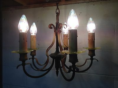 Antique Vintage Brass Glass Art Deco Ceiling Light Fixture Chandelier