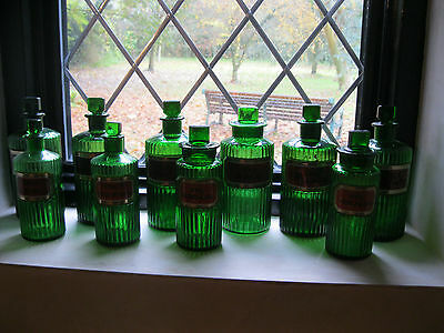 Collection Of 10 Green Labled Chemist Poison Bottle Bottles