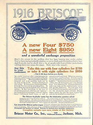 1916 Brisco Car Ad - Vintage  Original