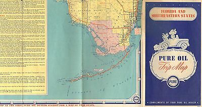 1947 Pure Oil Trip Map Of Florida & The Southeastern States - Vintage & Original