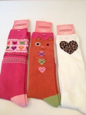 3 Pairs Girls Long Socks Gymboree Age 5-7 Years Cat Hearts Leopard Print New