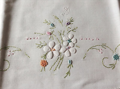 antique/vintage small pillowcase white linen w lovely hand embroidery 22 x 20.5""