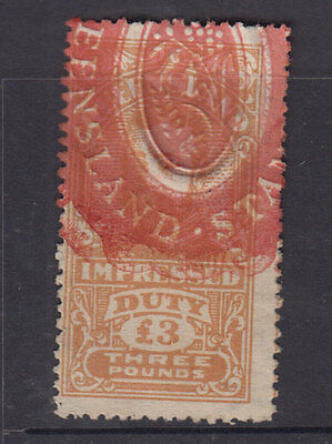 QUEENSLAND 1920 £3 Brown GV IMPRESSED DUTY -Elsmore Cat $25++- VFU