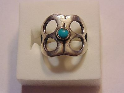 Vintage Sterling Silver Sandcast Turquoise Ring *Size 6.5*  30812