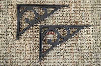 Pair of antique cast iron simple Edwardian wall shelf brackets bracket AL31