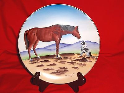 "#631 - 8"" Collector Plate - Horse With Dog, Puppy - ""pals""  - Western"