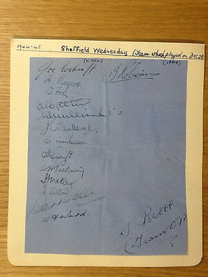 Superb Sheffield Wednesday signed wartime autograph book page 15 signatures 1944