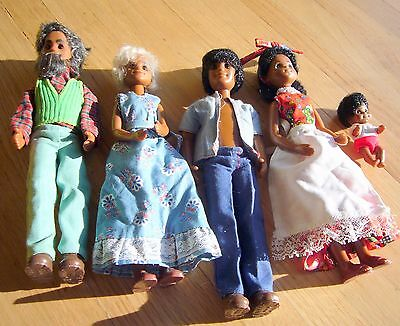 5 Rare 1975 SUNSHINE FUN FAMILY BLACK GRANDPARENTS Mom Dad Baby African American