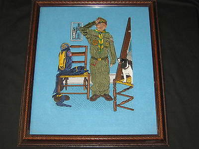 Can't Wait Norman Rockwell Boy Scout Embroidered Print
