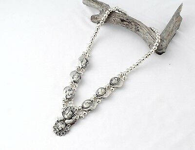 White Turquoise Silver Aztec Necklace MASN1625