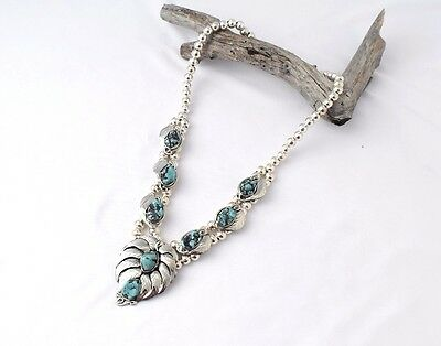 Turquoise Silver Aztec Necklace MASN1619
