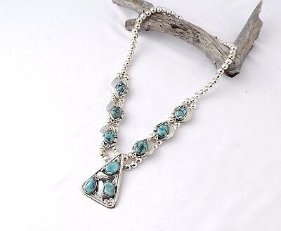 Turquoise Silver Aztec Necklace MASN1616
