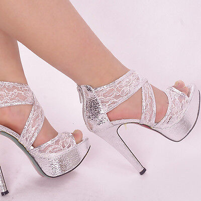 Glitter Silver Ankle Checker Women Shoes Lace Strappy Wedding High Heels Sandals
