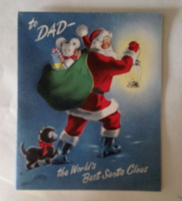 VINTAGE 40's CHRISTMAS CARD  TO DAD WORLD'S BEST SANTA CLAUS UNUSED