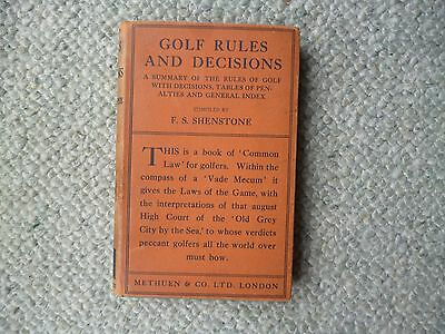 FS Shenstone  Golf rules and decisions 1935 book in jacket