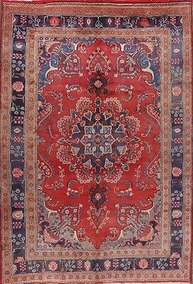 "Semi-Antique Hand Knotted 6x9 Mashad Persian Oriental Area Rug 9' 4"" x 6' 3"""