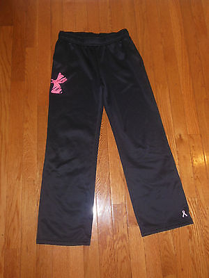 Under Armour Girl's black/Pink  Loose Sweat Pants  YLG storm breast cancer aware