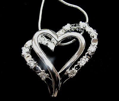 Double Open Heart Sterling Silver Eternity Pendant Necklace 17 inch Chain