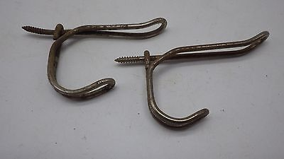 Antique Lot of 2 Twisted Wire Hangers Hooks Coat Rack Schoolhouse Vintage # 8