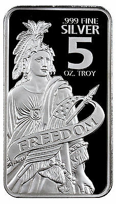 Special Price! Statue of Freedom 5 Troy oz. .999 Prooflike Silver Bar SKU44150