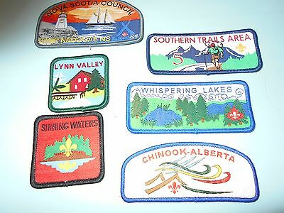 (Nn4-J) Six Different Listed New Woven Scouts Canada Badges  Canada Scout Badges