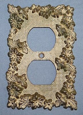 Vtg Floral Metal Outlet Plate Cover American Tack & Hardware 75D Hollywood Regen