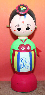 Korean Creative Colorful Wooden Female Doll Figure Traditional Dress Vintage