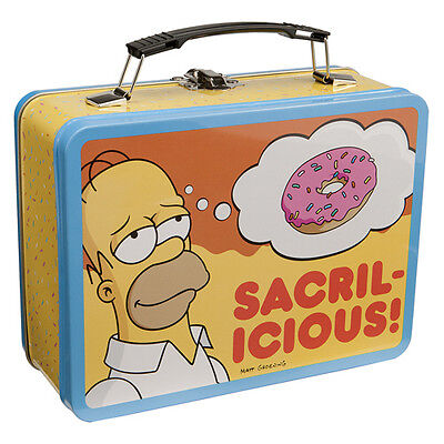 """The Simpsons Homer and Maggie """"Sacralicious"""" Large Tin Tote Lunchbox, NEW UNUSED"""