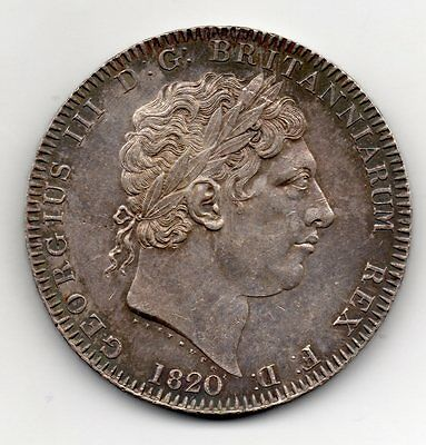 1820 Crown, George Iii Laureate Head, Lx On Edge, High Grade